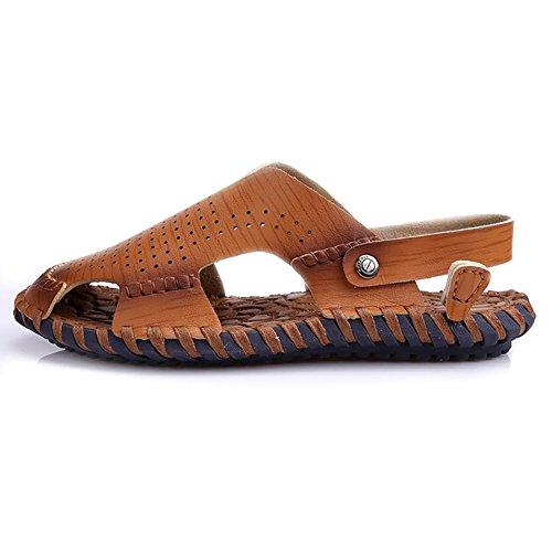pelle confortevole chiuse in scarpe uomo pelle 38 Bianca realizzate morbida ZJM antisdrucciolevole vera spiaggia Scarpe Marrone Colore sandalo scarpe in da dimensioni w8qWWBznxa