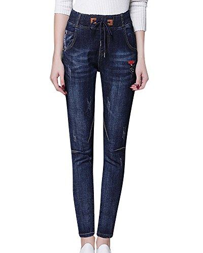 Azul de Alta Pantalones Mujeres Polainas Cintura Vaqueros Lápiz Pantalones Elásticos Mujer del Delgados qUwS7