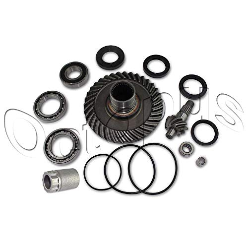 (HONDA TRX300 2x4 Fourtrax Rear Differential Ring & Pinion Gear + Bearing kit 88-00 Nut Tool Included)