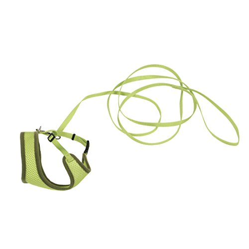 Green Comfort Soft Adjustable Mesh Cat Harness with 6' Leash By Coastal Pet Cat Power Harness