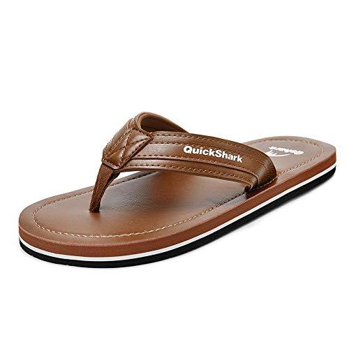 Quickshark Mens Flip Flops Leather Thong Sandals Arch Support Beach Slippers Tan Size 12 ()