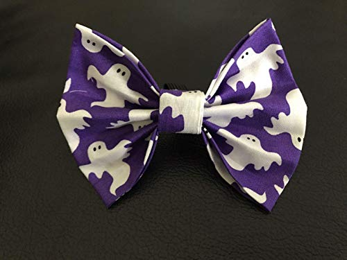 Dog Bow Tie in Purple and White Halloween Ghosts Fall/Autumn Pet Fashion - Medium/Large 4.5