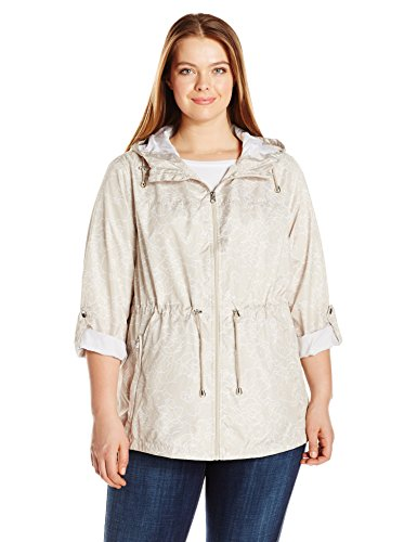 Details Women's Plus Size Lightweight Packable Anorak Parka In a Pocket, Khaki Floral, - Lightweight Parka Hooded