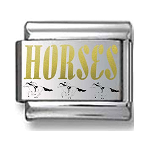 Black and Gold Horse Laser Italian Charm