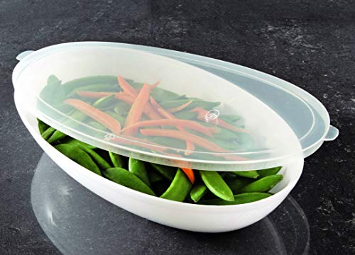 Zappy 10 Pk Plastic Oval Serving Bowl Lids, Clear Lids for Oval Disposable 64 oz Salad Bowl Plastic Cover