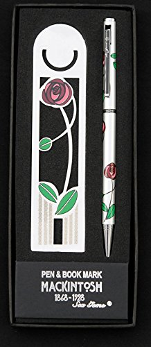(Pen and Bookmark Set in a Mackintosh Red Rose and Leaf Design.)