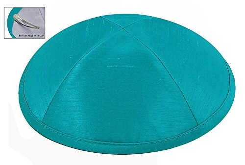 Zion Judaica Deluxe Raw Silk Kippot for Affairs or Everyday Use Single or Bulk Orders - Optional Custom Imprinting Inside for Any Affair (1PC, Turquoise)