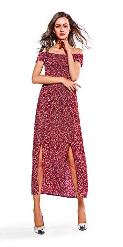 Casual A Women Off Dresses Long Maxi Slit Summer Shoulder red Walant Split Boho 0gxtqwPP