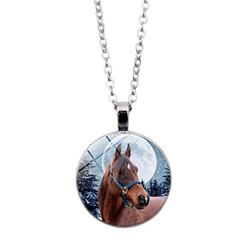 Necklace soAR9opeoF Winter Horse Cabochon Vintage Glass Pendant Chain Necklace Women Jewelry Gift - Silver ()