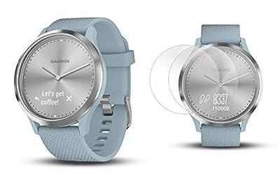 Garmin vivomove HR Sport (Silver with Seafoam Band, S/M) Hybrid Smartwatch   Bundle Includes Premium HD Glass Screen Protectors   Activity, Sleep & Stress Tracking, On-Wrist Heart Rate