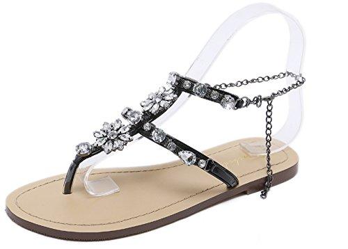Femmes pour pour Plage Bling Sandales Strass Sandales Noir Plates Bohême Charme Sandales d'été Les Le de 7wEAS