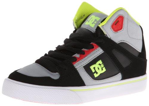DC Spartan High Skate Shoe (Little Kid/Big Kid),Grey/Red,6 M US Big Kid - Dc Shoes High For Kids