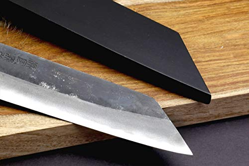 Yoshihiro Mizu Yaki Blue High Carbon Steel Black Forged Kiritsuke Japanese Multipurpose Chef Knife 8.25 In with Lacquered Nuri SayaN by Yoshihiro (Image #5)