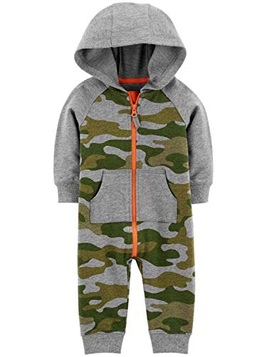 Carter's Infant Boys Green Camo Hoodie Jumpsuit Cotton Coverall Baby Outfit 24m