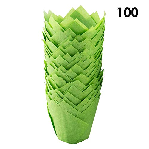 Bakuwe Standard Tulip Muffin Cupcake Liners Paper Baking Cups,100-Count (Green)