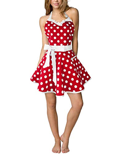 Maid Costume Ideas (Eternity J. Cute Cotton Polka Dot Kitchen Aprons Sexy Vintage Apron Dress Retro Baking Cooking Salon Pinafore Maid Costume for Women)