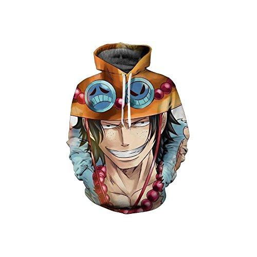 GoldBucket Unisex Fashion Hoodies 3D Dragon Ball Z Naruto More (One Piece 1, XL)