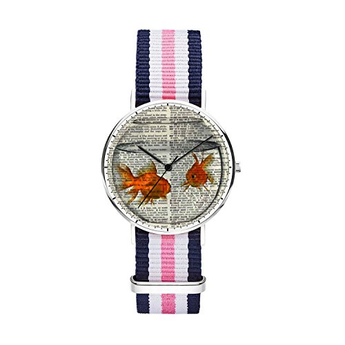 SunbirdsEast Goldfish Koi Watch Nylon Band for Women 36mm Analog Quartz Wrist Silver Unisex Stainless Steel Children Nylon Multi-Color Striped Band Watch