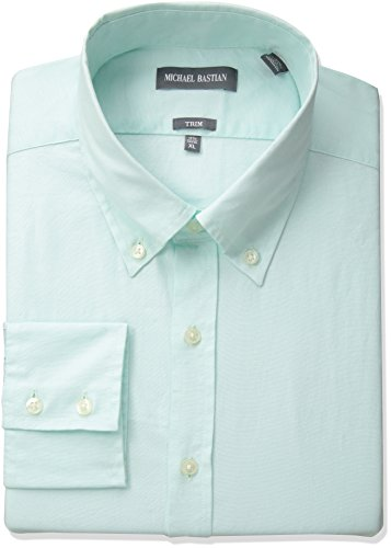 Michael Bastian Men's Slim Fit Solid Oxford with Button Down Collar, Mint, 15