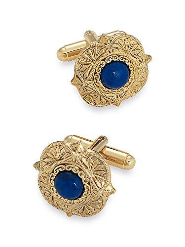 Paul Fredrick Men's Lapis Medallion Cufflinks Blue 000