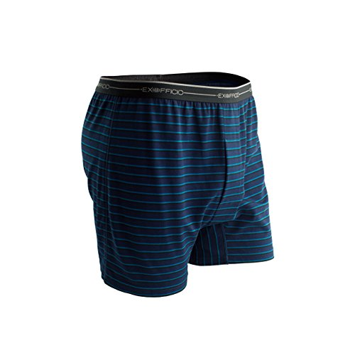ExOfficio Men's Sol Cool Print Boxer, Navy/Graphic Stripe, Large (Stripe Print Briefs)