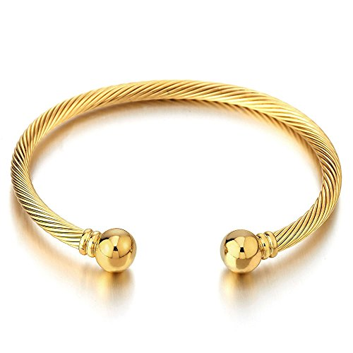 COOLSTEELANDBEYOND Elastic Adjustable Stainless Steel Twisted Cable Bangle Cuff Bracelet for Men Women Gold Color