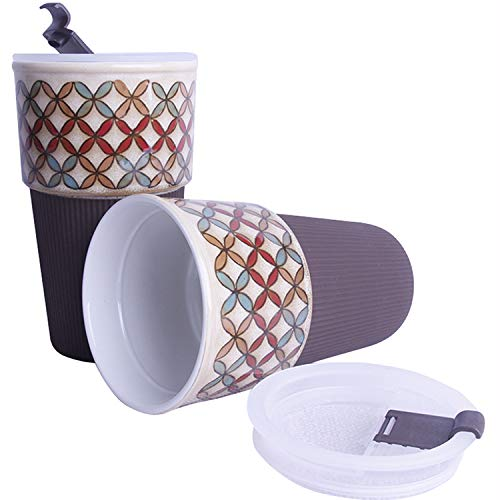 Ceramic Travel Mug, Car Commuter mugs, Novelty Coffee Mugs with Lid, Stoneware Mug, Father's Gift, Hand Painted Mugs, Pack of 1 (Plaid) (Hand Painted Stoneware Mugs)