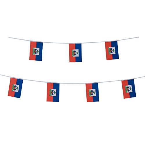 Haiti Flag Haitian Flag,100Feet/76Pcs National Country Banner Flags,Party Decorations Supplies For Olympics,Bar,Sports Events,International Festival