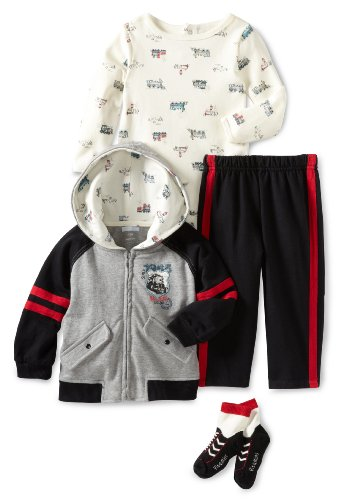 Vitamins Baby Boys' Railroad Crossing 3 Piece Creeper Pant Set