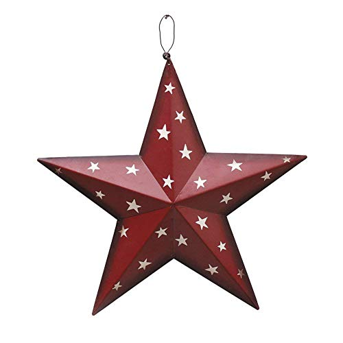 Attraction Design Country Rustic Vintage Gifts Dimensional Metal Barn Star Wall/Door Decor (Red)