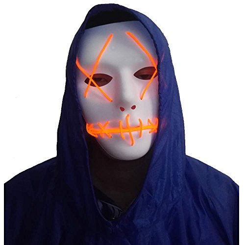 A-MORE Halloween Mask Cosplay LED Glow Scary EL Wire Light Up Grin Masks For Festival Parties Costume (Orange) (The Halloween Masks)