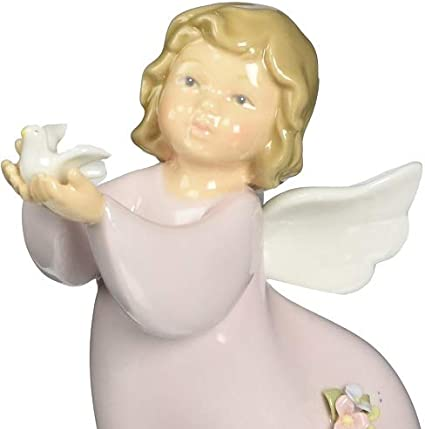 Cosmos 10376 Fine Porcelain Angel With Dove Figurine 5 1 4 Inch Home Kitchen Amazon Com