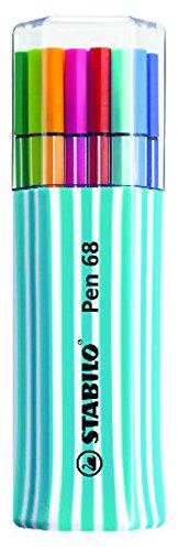 (STABILO Pen 68 Fibre-tip pen pack of 15 assorted colours in a light blue re-usable case)