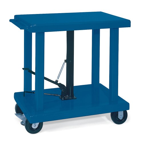 Wesco-Foot-Pedal-Operated-Mobile-Hydraulic-Lift-Tables-2000-Lb-Capacity-32X48-Platform-Blue