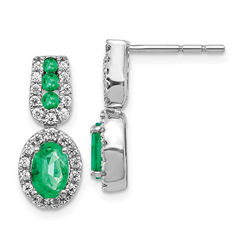 14k White Gold 1/3ct Diamond Green Emerald Post Stud Earrings Gemstone Fancy Drop Dangle Fine Jewelry Gifts For Women For Her (Green Diamond Stud Earrings)