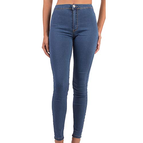 Primtex Jean Femme Skinny Taille Haute Bleu Jean Stretch Effet Gainant- Jean