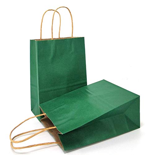 AZOWA Gift Bags Green Kraft Paper Bags With Handles Party Supplies Set OF 25(5.9 x 3.1 x 8.2 -