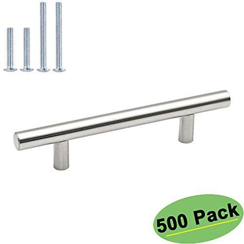 homdiy 96mm Cabinet Handles Drawer Pulls – HD201SN Cabinet Hardware Brushed Nickel Cabinet Pulls 500 Pack Modern Cupboard Handles for Kitchen Cabinets