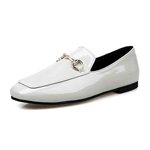 AllhqFashion Womens Solid No Heel Pull on Square Closed Toe Flats-Shoes Lightgray KXEIvy