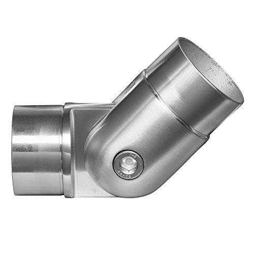Stainless Steel Adjustable Joint Elbow Bend Connector, Round Shape Tube Component for Cable Railing Deck (Intermediate Posts and/or Top Rail)