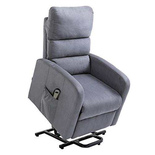 Homegear Microfiber Power Lift Recliner Chair with Electric Recline and Remote Charcoal