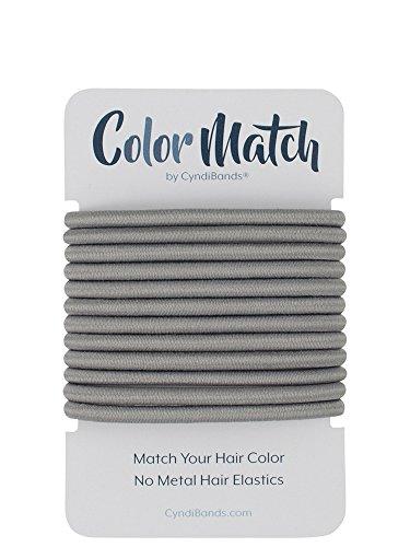 Gray Color Match No-Metal Elastics Hair Ties - 12 Count