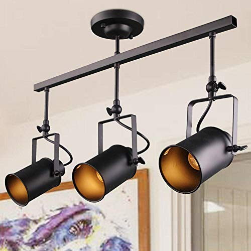 LALUZ Adjustable Track Lighting Kit Industrial Ceiling Spotlight with 3 Heads, A02941, Sources, Black