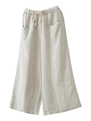 Minibee Women's Linen Wide Leg Pants Elastic Drawstring Lounge Cropped Trousers White