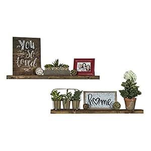 Del Hutson Designs Handmade 36 Inch Rustic Pine Floating Wall Shelves, Dark  Walnut (