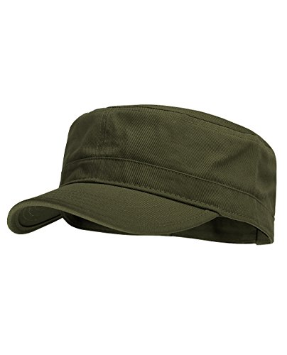(NYFASHION101 Fashionable Solid Color Unisex Adjustable Strap Cadet Cap, Olive)