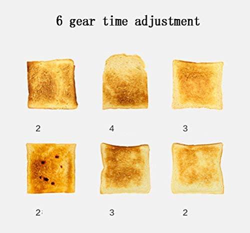 N / A grille-pain, grille-pain large fente 6 modes de brunissement séparé grille extractible bac à puce mini automatique petit déjeuner famille