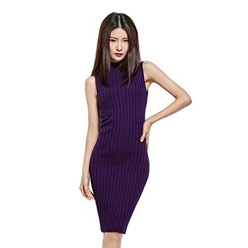 Women Sleeveless Sweater Dress Turtle Rib Neck Knitted Long Dress Slim Sexy Bodycon Pencil (XL, Purple)
