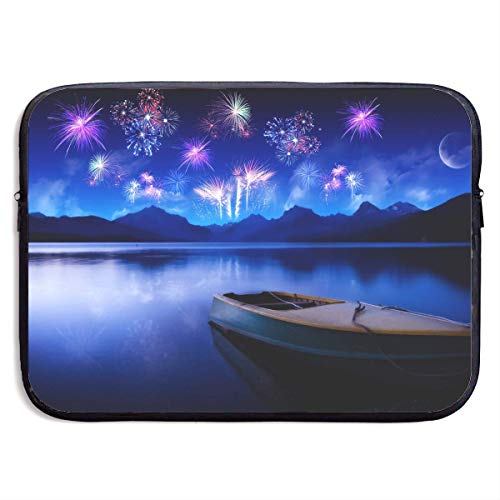 CHJOO Laptop Sleeve Bag Boat Fireworks Lake Mountain Landsca