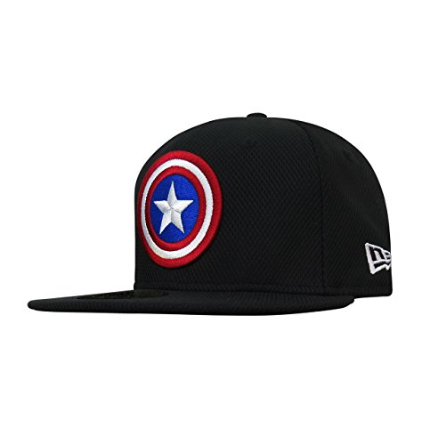 Captain America Shield Black 59Fifty Fitted Hat- 8 (Shield New Era)